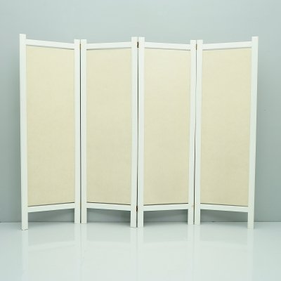 White wood & fabric Paravent / Room Divider, France 1980