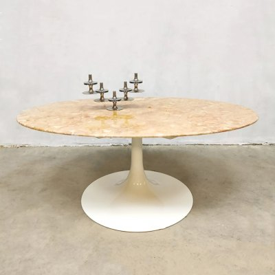 Midcentury design marble oval coffee table
