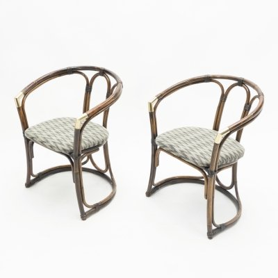 Pair of Mid-Century Modern French Riviera Bamboo & brass Armchairs, 1960s