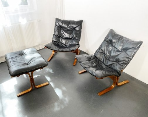 2 Siesta Leather Easy Chairs + Ottoman set by Ingmar Relling for Westnova, 1960s