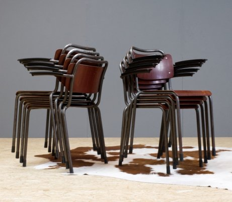 Gispen Industrial plywood & metal school chairs model Th.Delft, 1952