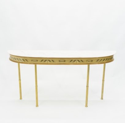 Unique Italian brass goatskin marble console table by Giuseppe Anzani, 1950s