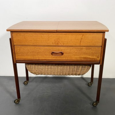 Mid Century Teak Sewing Table with Basket, Denmark 1950s