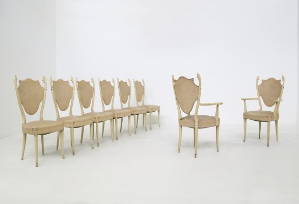 Set of 6 Italian white lacquered ash chairs by Carlo Enrico Rava, 1950s