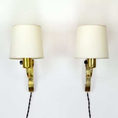 Pair of Brass Wall Sconces by Maria Lindemann for Idman, Finland 1950s