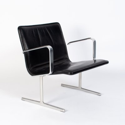 Black leather RZ 602 chair by Dieter Rams for Vitsoe, 1960s