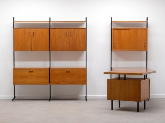 Rare teak wall unit with desk by Combiform