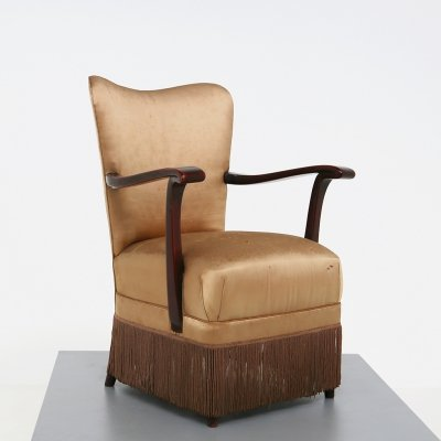 Original beige fabric Osvaldo Borsani armchair for ABV, published 1950s