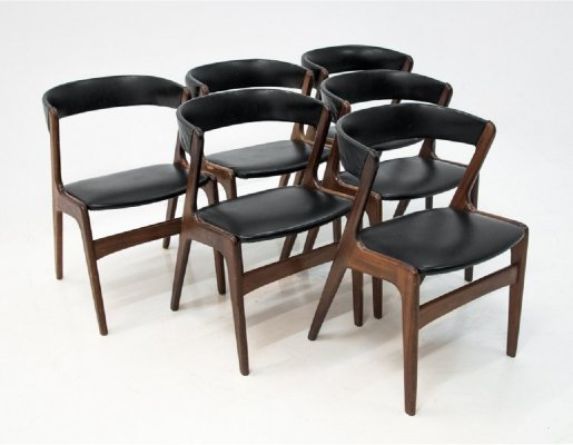 Set of 6 'Fire' chairs by Kai Kristiansen, Danish design 1960s