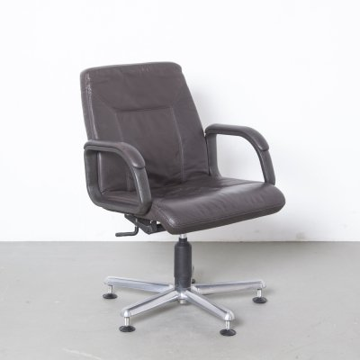 Brown leather Dauphin Office chair, 1980s