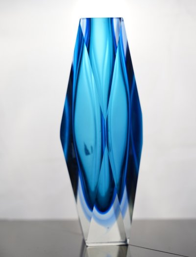 Vintage bright blue 'Sommerso' murano glass vase by Flavio Poli