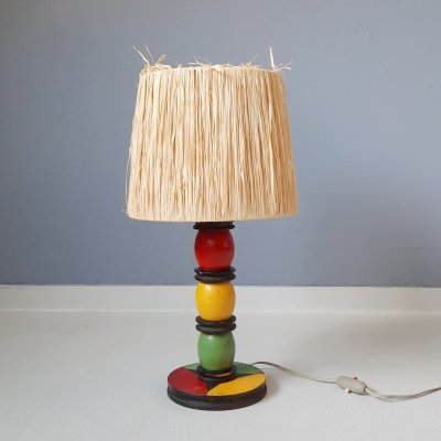 Modernist Wooden French Table Lamp, 1955