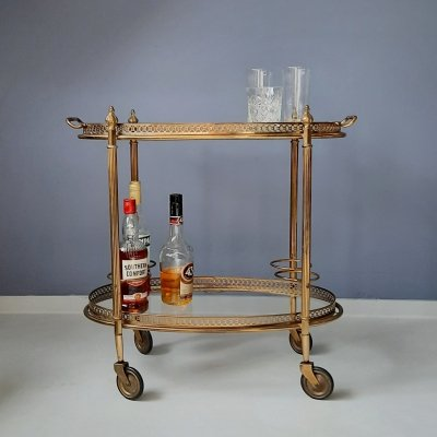 Brass & Glass Bar Cart with Serving Tray, 1960s