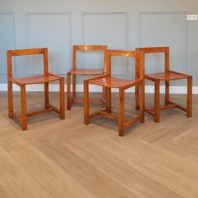 Set of 4 Pine Dining Chairs, 1970s