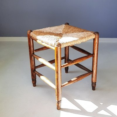 Wooden Stool with Rush Seat, 1960s