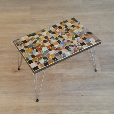 Side Table with Mosaic Glass Top, 1950s
