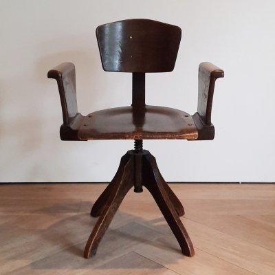 Art Deco Wooden Desk Chair, 1920s/1930s