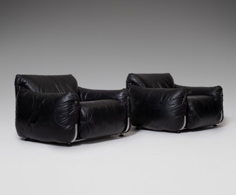 Chrome & Black Leather Lounge Chairs, Italy 1970's