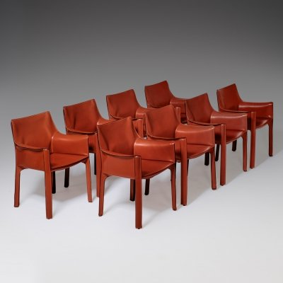 Set of 8 Cab chairs by Mario Bellini for Cassina, 1970s