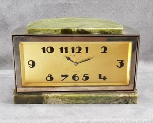 Art deco clock by A L'emeraude, Lausanne circa 1930