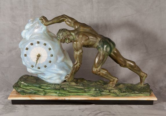 Max Le Verrier bronze with clock, 1950s