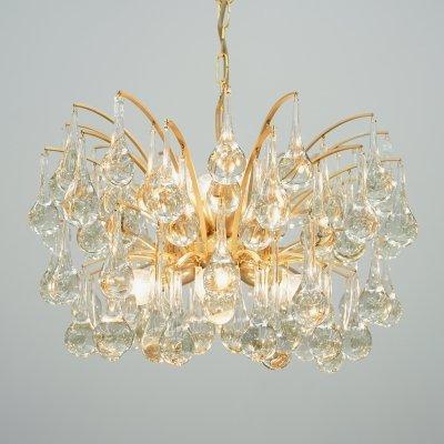 Christoph Palme Brass & Glass Drop Chandelier by Palwa, 1960s