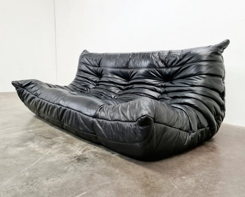 Original leather Togo 3 seater sofa by Michel Ducaroy for Ligne Roset, 1980s