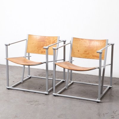 Pair of FM62 Leather Cubic Chairs by Radboud van Beekum for Pastoe, 1980