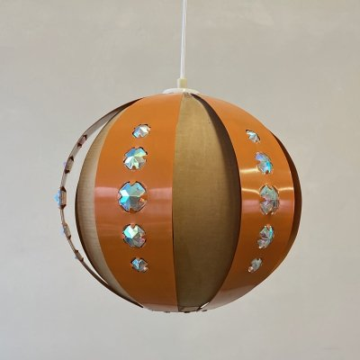 Orange metal & wood hanging lamp by Coronell Denmark, 1970s