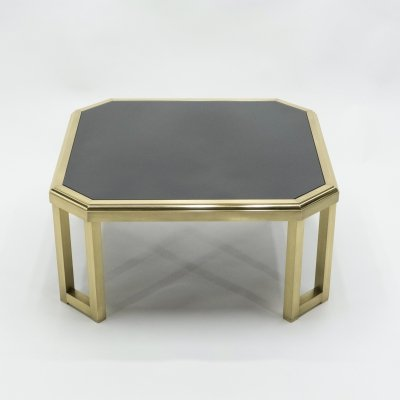 Mid-Century brass black opaline end table by Maison Jansen, 1970s