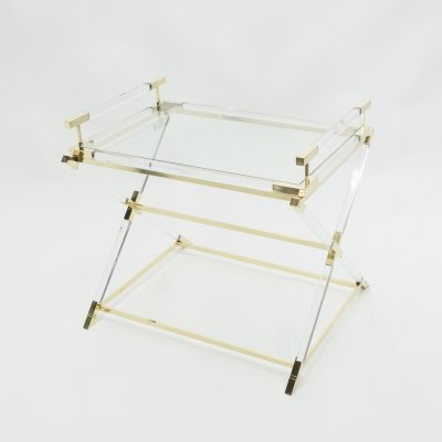 Rare French side tray table in lucite & brass by Maison Jansen, 1970s