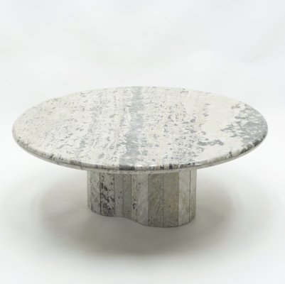 Large round coffee table in white sicilian marble, 1970s
