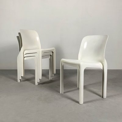 Set of 4 White Selene Chairs by Vico Magistretti for Artemide, 1970s
