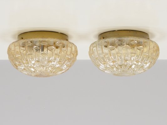 Set of 2 wall / ceiling lamps from Limburg Glashütte, 1960s