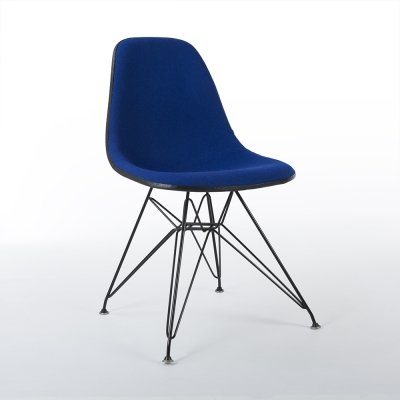 Blue Upholstered Herman Miller Original Vintage Black Eames DSR Dining Chair