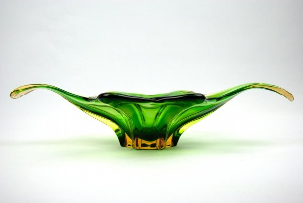 Green/orange Mid Century Glass Bowl from Murano Italy, 1960s