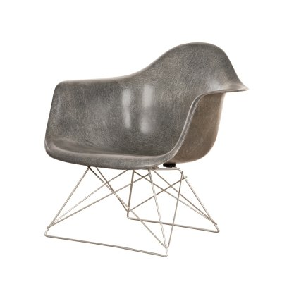 Elephant hide grey Eames LAR lounge chair, 1950s