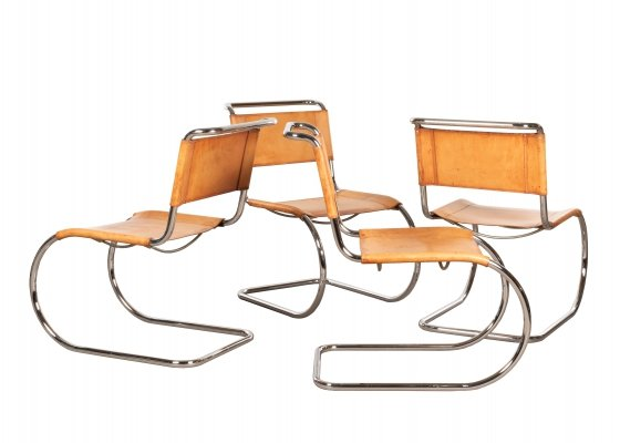 Set of 4 MR10 dining chairs by Ludwig Mies van der Rohe for Thonet, 1970s