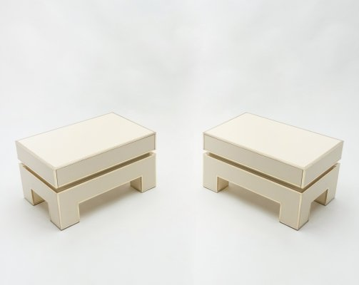 Pair of white lacquer brass end tables by Alain Delon for Maison Jansen, 1975