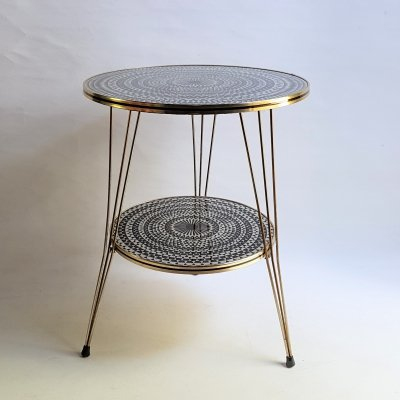 Vintage 1950s coffee table with psychedelic glass top, 1950s