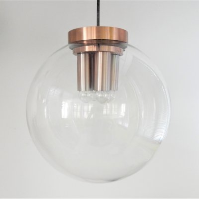 4 x XXL glass globe pendant lamp for Raak, The Netherlands 1960's