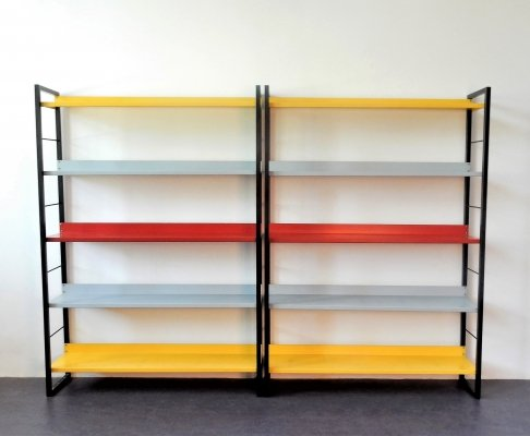 Metal shelving wall unit by Dekker & Van Mieren for Tomado, The Netherlands 1958
