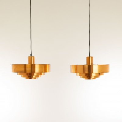 Pair of Copper Roulet Pendants by Jo Hammerborg for Fog & Mørup