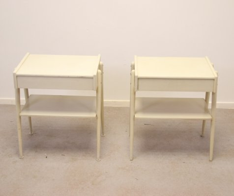 Set of bedside tables in white by Carlstrom & Co Mobelfabriek, 1960s