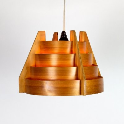 Wooden Pendant Light by Hans Agne Jakobsson for AB Markaryd, Sweden 1960s