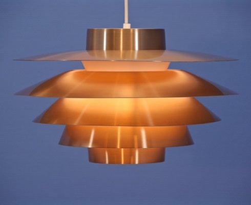 Danish hanging lamp Verona in copper by Sven Middelboe for Nordisk Solar, 1970s