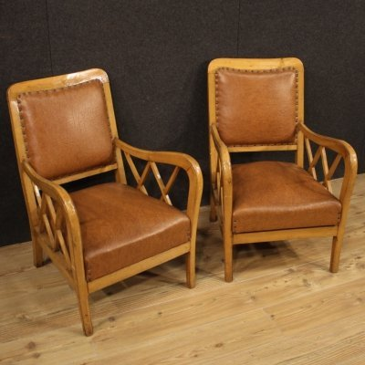 Pair of 20th Century Wood & Faux Leather Italian Design Armchairs, 1960
