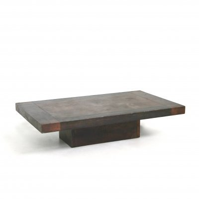 Lorenzo Burchiellaro Brutalist Coffee table in wood & copper, signed 1970s