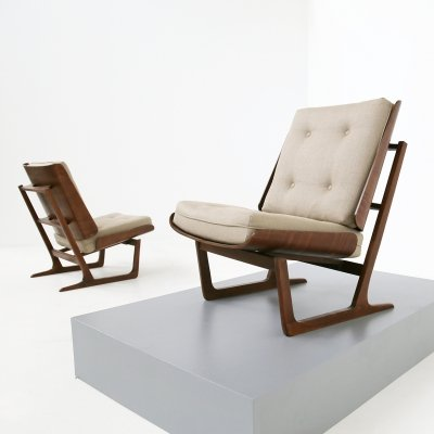 Pair of teak & cotton Danish Mid Century armchairs by Grete Jalk, 1950