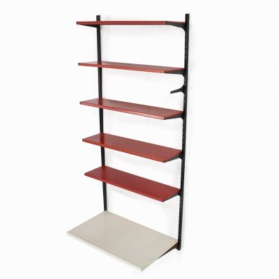 A. Dekker for Tomado shelving unit in red & white metal, 1950s